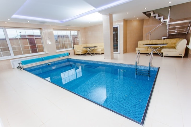 Indoor pool after pool service